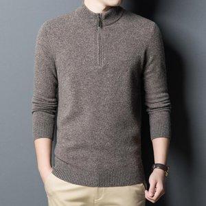 Homens 100% Wool Sweater 2020 Outono Inverno Zippers Turtleneck Pure Cashmere Quente Man malha Camisolas Camisolas