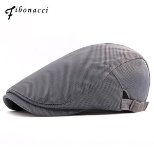 Fibonacci 2020 New Summer Breathable Mesh Solid Newsboy Cap Vintage Classic Men Women Ivy Flatcap Berets Hats