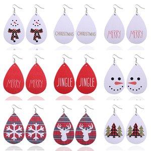 New Christmas Tree Teardrop Leather Earrings for Women Fashion Water Drop Leather Statement Earrings Christmas Elements Earrings Jewelry