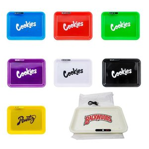 Cookies Runtz Backwoods Glow Tray Rechargeable Changeable LED Rolling Plate Featured Dry Herb Tobacco Storage Tray Holder with Box