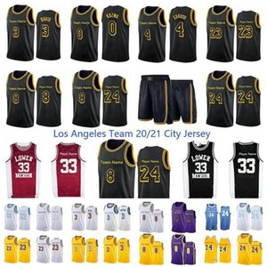 Nuevo 20/21 Los City Angeles Baja Merion 33 Player Anthony 3 Davis 23 Player 14 Gassol 4 Caruso 0 Kuzma Black Mamba Jersey Basketball Jersey