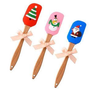 Silicone Scraper Christmas Butter Scraper Food Grade Small Silicone Spatula 3D Xmas Pattern Home Baking Wood Handle Kitchen Tools OWC2645