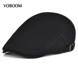 Cotton Men Women Black Flat Ivy Cap Soft Solid Color Driving Cabbie Hat Adjustable Newsboy Caps 039