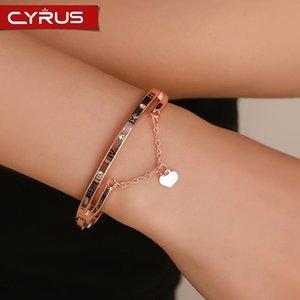 Bracciali di fascino Trendy Love Heart Heart Numeri romani nappa per le donne coppia Catene strass in argento colore rosa oro metallo regalo femme