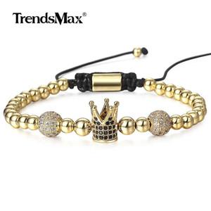 Leather Adjustable Paved For Braided Dbm65 Bracelet Beaded Cz Handmade Bracelets Womens Gift Luxury Jewelry Crown Mens tsetEHg whole2019