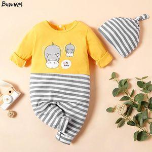 Bunvel Newborn Baby Boy Boy Girl Jumpsuit Jumpers Striped Beatwork Rapide Print Roadwork Raby Girl Rompers + шляпные наряды Y1221