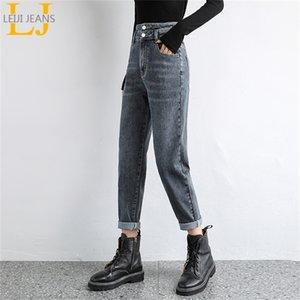 Leijijeans New Plus Size Hem Harem Grey Grey Color Donne Boyfriend Blue Lady Jeans 210203