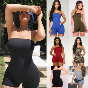 Women Bodycon Biker Shorts Sexy Off Shoulder Tube Top Jumpsuits Tracksuits Rompers Cycling Shorts Clubwear Rave EDM Outfit