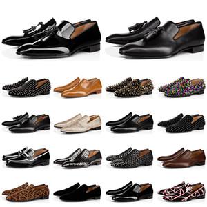 red bottoms shoes caldi di vendita degli uomini di lusso mocassini firmati scarpe casual triple nero rosso di brevetto opaco sneakers in pelle picco per fondi piatti matrimoni