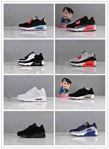 2020 Fashion Sneakers Classic maxes 90 boys and girls Running Shoes Sports Trainer Cushion 90 Surface Breathable Sports Shoes26-35