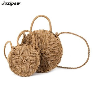 Joxiapw 2020 Lady Fresh Handbag Vintage Handmade Rattan Woven Round Handbag Straw Bag Knitted Messenger Bags For Women