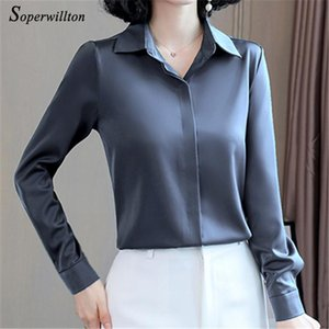 Satin Elegant Women's Blouses 2020 Autumn Long Sleeve Vintage Shirts Silk Ladies Tops Office wear Fashion Blusas Button Shirts