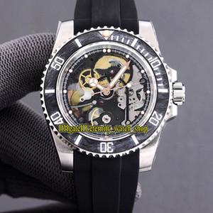 최고의 버전 다시 끼 우고 판 탄소 섬유 베젤 해골 일본 미요 자동 116610 남성 시계 316L 스틸 고무 스트랩 시계 124060 다이얼