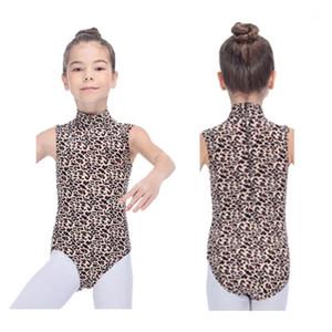 Girls LeoPard Tank Cool Lycra Leotard с высокой шеей для детей женской практики балетной гимнастики Bodysuit1