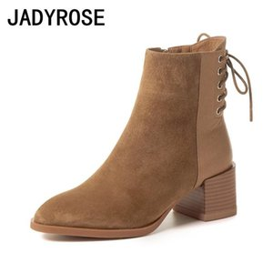 2020 New Brown Suede Women Ankle Boots Back Cross Strap Short Winter Botines Black Knight Booties 6cm Chunky High Heels Botas