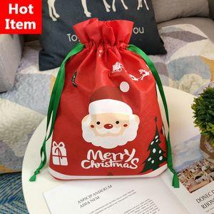 DHL рождественские красные сумки DrawStstring нетканые подарочные сумки вечеринка конфеты подарочная сумка рождественские праздничные вечеринки украшения