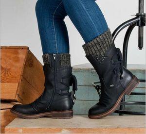 Frauen Retro Suede Mid-Calf Boots Damenmode Schnee Stiefel Schuhe Oberschenkel hohe Wildleder Warm Botas Wolle gestrickte Socken Martin Schuhe