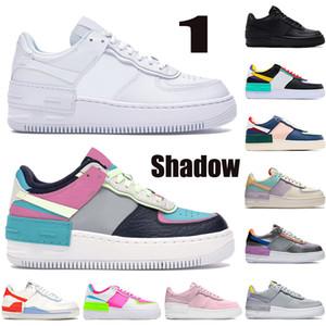 Yeni 1 Gölge Erkek Kadın Sneakers Soluk Fildişi Üçlü Siyah Beyaz Mor Kurt Gri Metalik Gümüş Pembe Erkek Basketbol Ayakkabı US 5.5-11