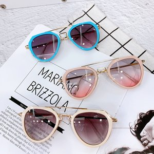 New Children Fashion Sunglasses Semi Metal Kids Casual Adumbral Glasses Boys Girls Full Frame Anti Ultraviolet Outdoor Goggles C6737