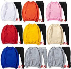 plus size Men fleece tracksuit two piece set long sleeve pullover pants casual sportswear letter hoodies leggings outfits sweatsuits 3622