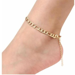 Fashion Summer Foot Chain Maxi Chain Ankle Bracelet Gold Anklet Halhal Barefoot Sandals Beach Feet Jewelry Accessories . .