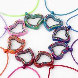 5pcs 30mm*30mm*6mm Mixed Color Enamel Floating glasss Lockets, Colorful Rhinestone Heart Locket Fit Floating Charms