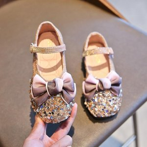 2020 der neuen Kinder Sandalen Baby-Schuhe Anti-Rutsch-Leder Princess Schuhe Autumn Fashion Glitter Bow Kinder Leder SH077