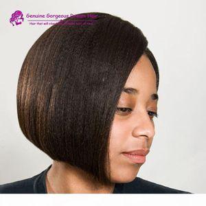 Short Bob Italian Yaki Lace Front Wig Unprocessed Brazilian Human Hair Glueless Full Lace Bob Wigs Light yaki For Black Women
