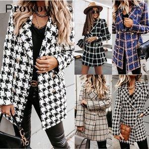 Prowow invierno de manga larga a cuadros bolsillos Mujer Casual mujeres chaquetas de doble botonadura Moda capa de las señoras de la vendimia