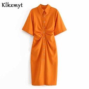 KLKXMYT Yaz ZA Elbise Kadınlar Yüksek Sokak Vintage Baskı Yaka Kıvrımlar Parti Gömlek Elbise Vestidos De Fiesta de Noche Vestidos J1215