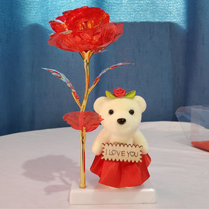 LED stagnola di oro placcato della Rosa con l'orso pupazzo di neve luminoso è aumentato il giorno di Natale regalo GGA3770-1 Fiore Shock Golden Light Rose Wedding di San Valentino