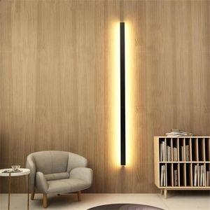 Modern Uzun Şerit Alüminyum Duvar Lambası Siyah LED Yatak Odası Başucu Wandlamp Merdiven Duvar Aplik Armatür Ev için Nordic Işıkları