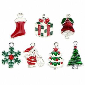10pcs / lot Merry Christmas Geyik Ağacı Noel Baba Emaye Charms kolye Moda Takı Aksesuar Bileklik Gerdanlık DIY 1l96 # sığacak