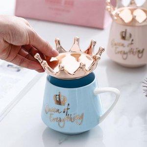 Taza de cerámica de corona creativa rosa taza linda de café nórdica taza de leche con cucharadas taza de café tazas de agua tazas de vacaciones regalo de vacaciones de vacaciones Way DHF4752