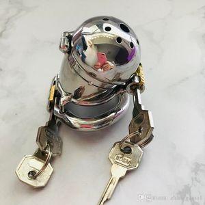 2018 Acciaio Uomini disegno inossidabile Dispositivo Ring Lock Belt Double Lock metallo del pene maschile Castità di cazzo Cage Chastity giocattoli del sesso per Etxja