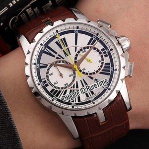 New 46mm Excalibur 46 Boîtier en acier RDDBEX0265 Cadran Argent Jaune Mains Miyota Quartz Chronographe Mens Watch montres de sport bracelet en cuir brun