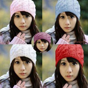 Korean pineapple women's hat versatile hand knitted hat women's autumn and winter hats for women twist wool hat beanies