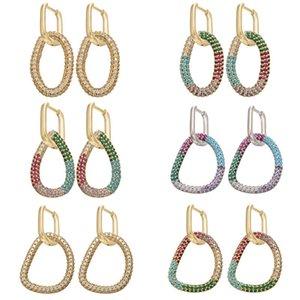 Hecheng 1pair CZ colorido da forma brincos atacado geométrica por irregular mulheres forma oval queda para VD738