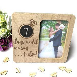 Wooden Picture Frame Rural retro do casamento contagem regressiva Amor Blackboard Photo Frame Ornamento do casamento Decoração Foto