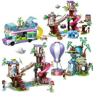 Friends Jungle Rescue Base Slide Amusement Park Building Blocks with Bricks Action Figures Toys Girls Winter Holiday Gift