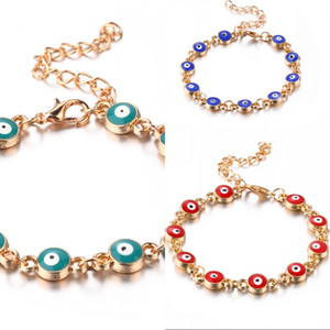 Enamel Blue Evil eye charm bracelets For women Men Turkish Eye Gold chains adjustable bracelet Bangle Fashion Jewelry in Bulk 167 O2