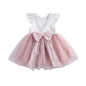 Focentnorm 0-8y princesa infantil bebé niñas vestido volantes manga sólido perla encaje remiendo remiendo bowknot tutu vestido w1227