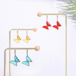 Stud 2021 Moda Corea Orecchini a farfalla di cristallo per le donne Animale Sweet Shiny Glass Insect Girls gioielli