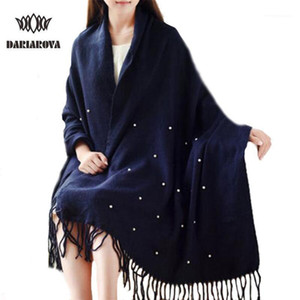 High Quality Winter Spring Fashion Wool Scarf Women 2020 Solid Thick Warm Knitted Scarves Pearl decorated Ladies Scarfs Shawls1