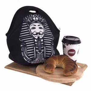 Portable Picture Print Lunch Bag Waterproof Fabric Food Beverage Bento Box Picnic Zipper Tote Handbags OEM Order Welcome