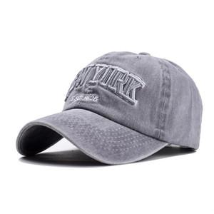 luxo- oZyc areia lavada 100% do chapéu boné de beisebol de algodão para mulheres homens chapéu do vintage pai NEW YORK carta bordados exterior tampas esportivas