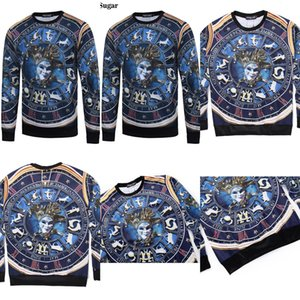 Smartsugar New Hot Up to Date Men Harajuku Style Print Mask  Clown Sweatshirt O-neck Long Sleeve Hoodies Sweatshirts
