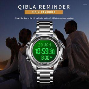 Skmei Compass Muslime Azan Часы для молитвы с Qibla Adhan Alarm Arrch Hijri календарь исламской Аль Харамен Fajr Time Wristwatch1