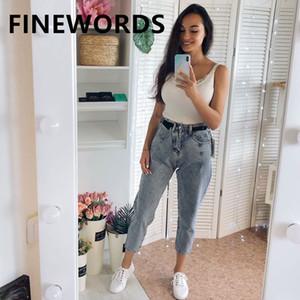 Finewords 2020 cintura alta Vintage soltas Casual Harem Boyfriend Jeans for Women coreano Plus Size Harajuku Azul Denim Pants
