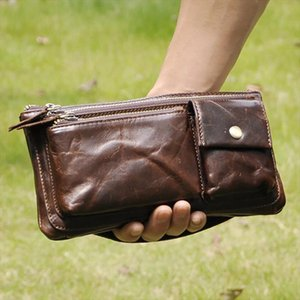 New Men First Layer Cowhide Geunine Leather Real Fanny Waist Pack Clutch Purse Chest Hip Belt Bag Multi Purpose Travel Male